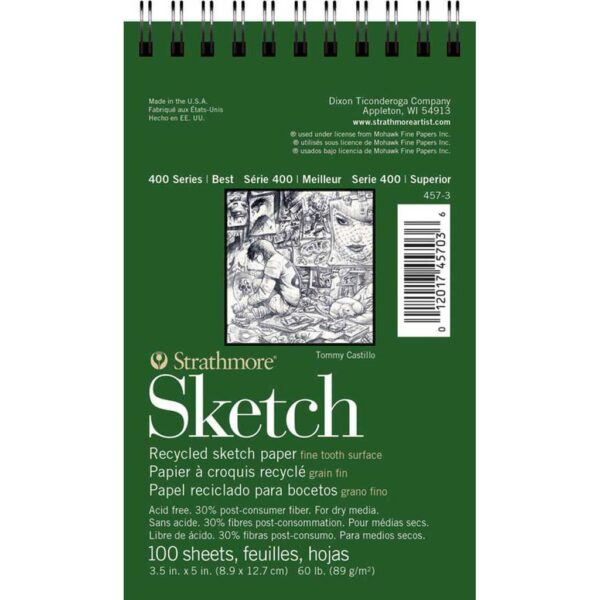 Strathmore 400 Series Recycled Sketch Pads - 3.5 x 5 in Fine Surface 89gsm (60lb)