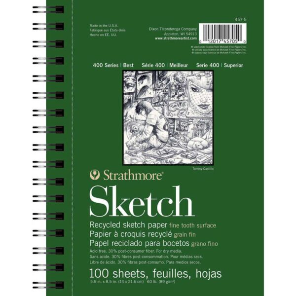 Strathmore 400 Series Recycled Sketch Pads - 5.5 x 8.5 in Fine Surface 89gsm (60lb)