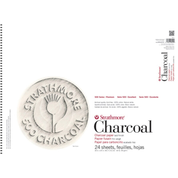 Strathmore 500 Series Charcoal Pads - White 18 x 24 in 95gsm (64lb)