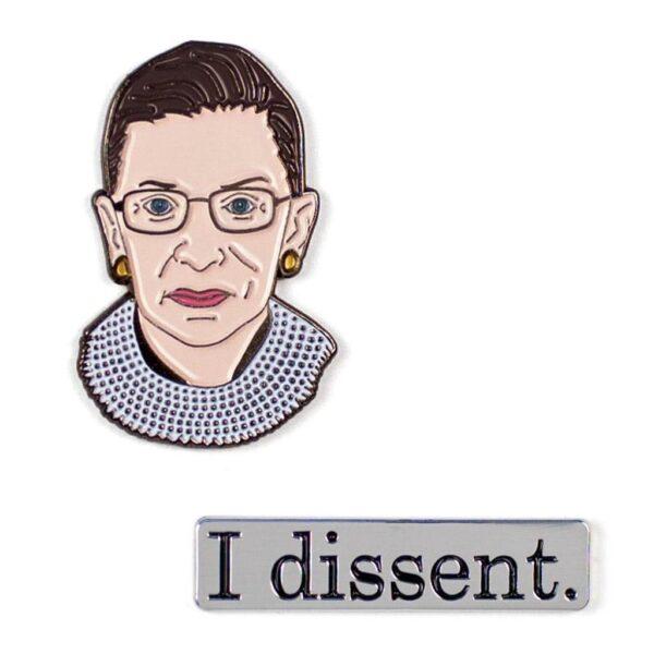 Ruth Bader Ginsburg and I Dissent Pins