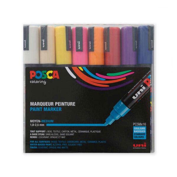 Uni-Posca Paint Marker Sets - Basic Set of 16 (2.5mm)