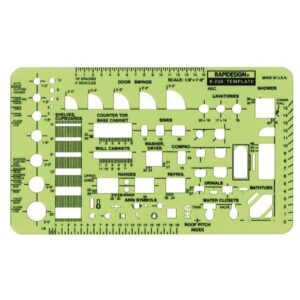 Rapidesign R-22A Architectual Template Scale House Plan Fixtures 1/8 In Scale