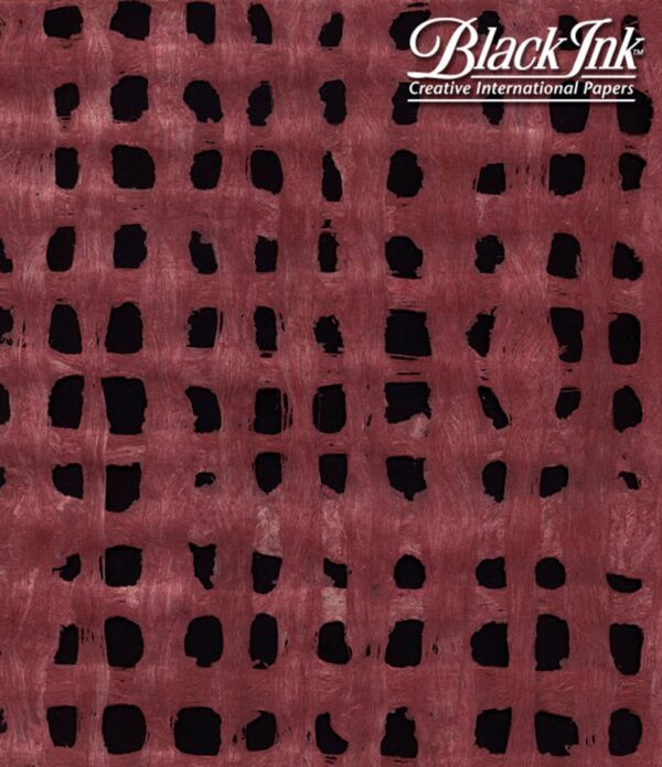 Black Ink Mexico Amate Bark Weave - Light Cranberry 15.5 X 23.5 In