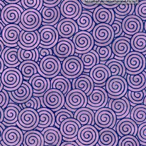 Black Ink Nepalese Screenprinted Lokta Spiral Gyro - Navy/Orchid 20 X 30 In