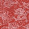 Black Ink Nepalese Puff Prints Dragon Beasts - Red/White 19.5 X 30 In