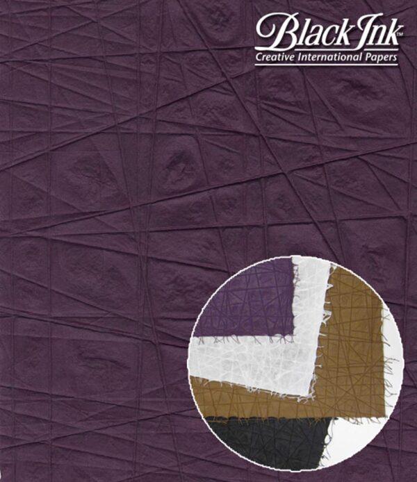 Black Ink Thai Criss Cross Mulberry Criss Cross - Amethyst 23 X 34 In