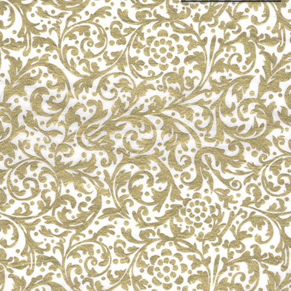 "Black Ink Thai Screenprinted Florals Elegance - Gold/White 25"" X 37"""