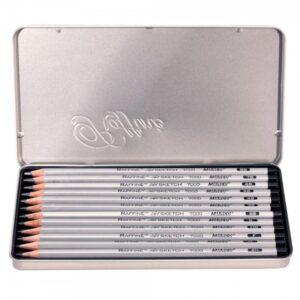 Creative Mark Raffine Graphite Pencil Tin 12 Pc Open