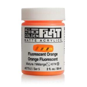 Golden SoFlat Matte Acrylic Paint - Fluorescent Orange 59 ml (2 OZ)