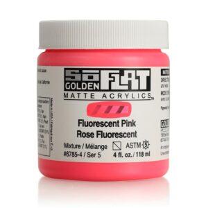 Golden SoFlat Matte Acrylic Paint - Fluorescent Pink 118 ml (4 OZ)